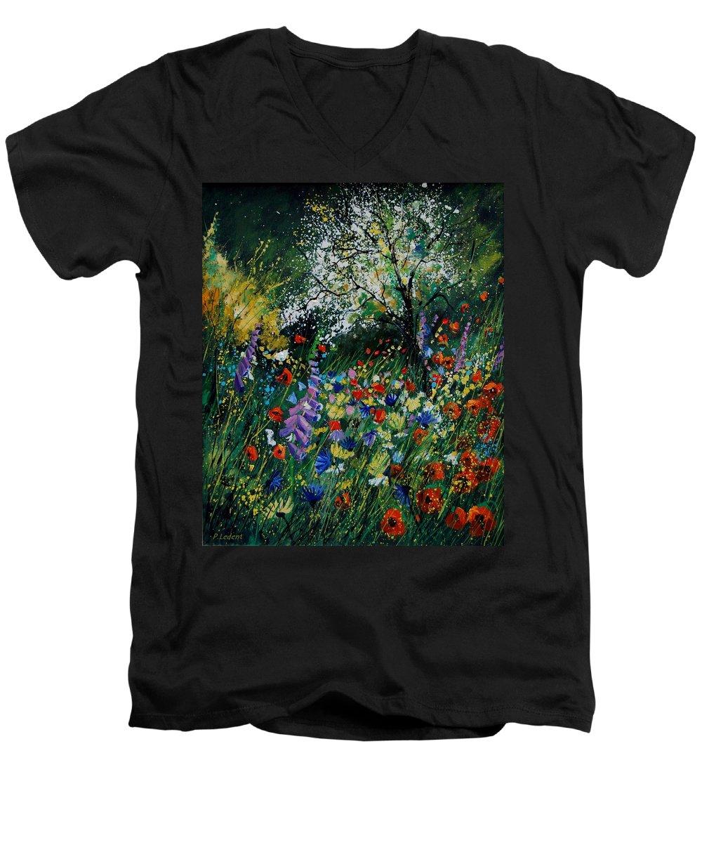 Flowers Men's V-Neck T-Shirt featuring the painting Garden Flowers by Pol Ledent