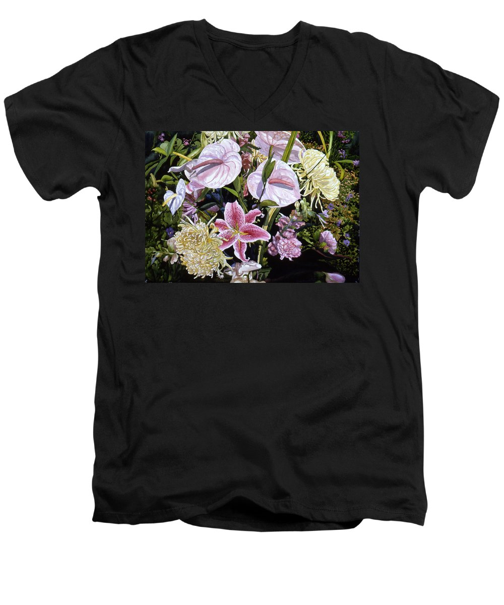 Watercolor Men's V-Neck T-Shirt featuring the painting Garden Song by Teri Starkweather