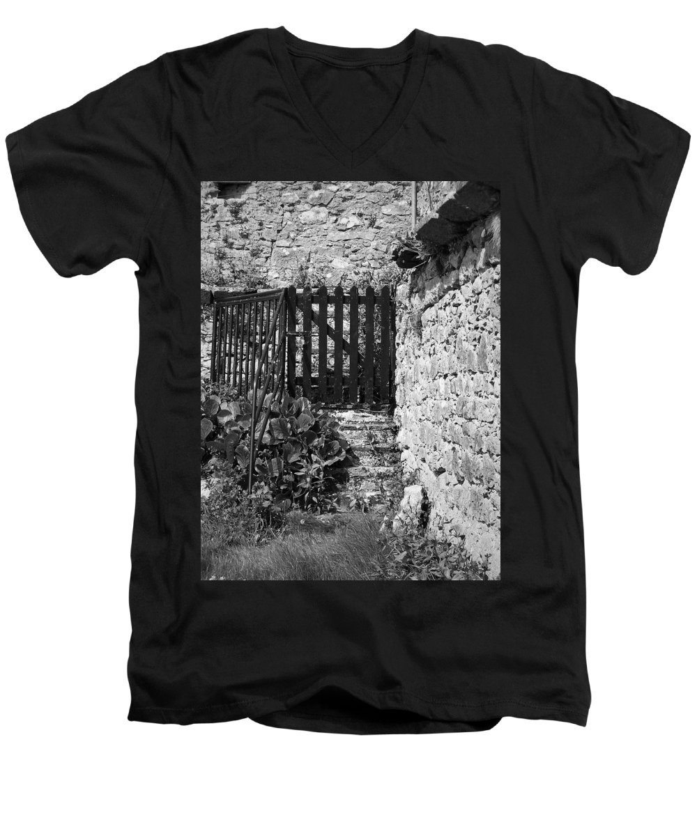 Irish Men's V-Neck T-Shirt featuring the photograph Gate At Dunguaire Castle Kinvara Ireland by Teresa Mucha