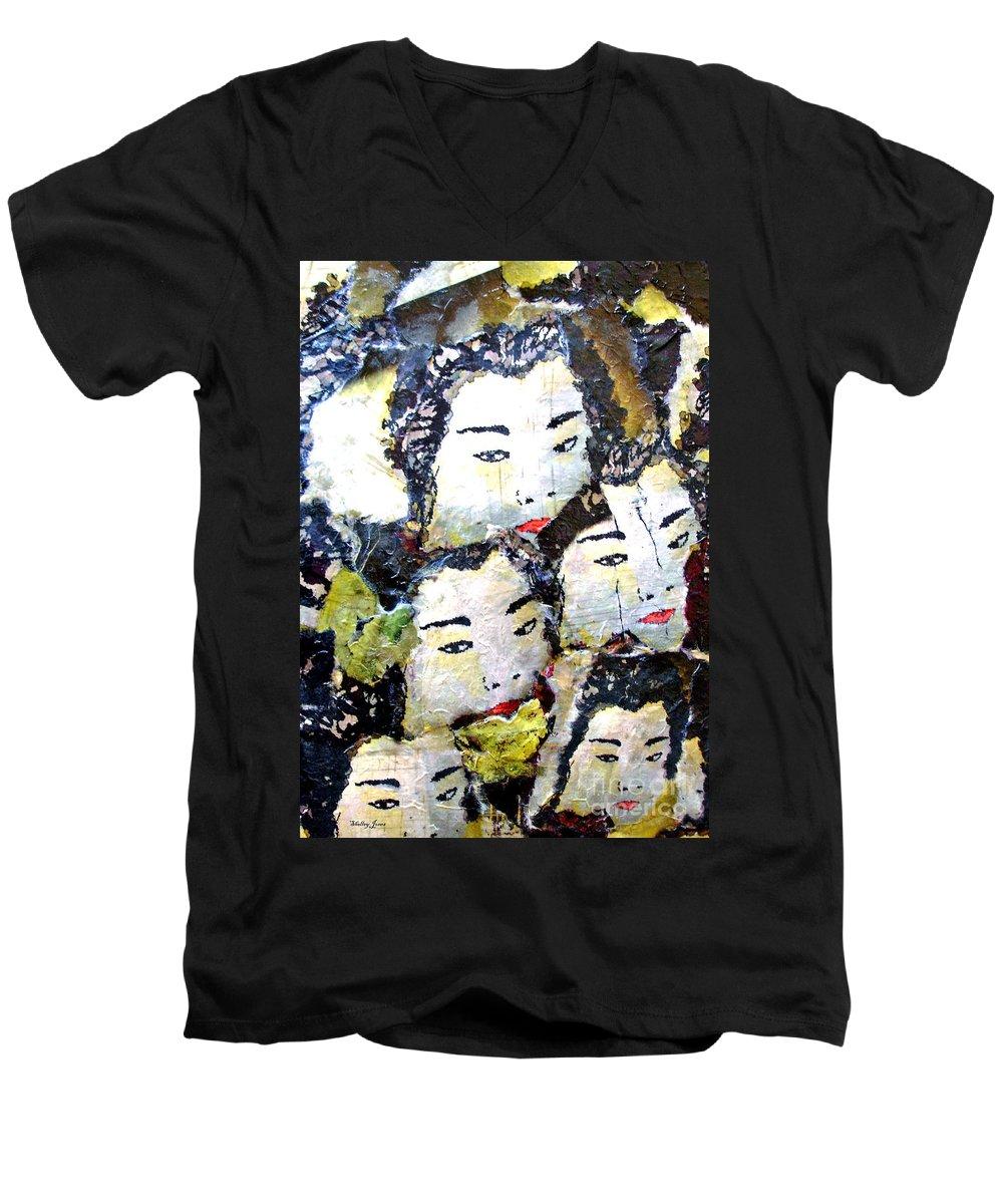Geisha Girls Men's V-Neck T-Shirt featuring the mixed media Geisha Girls by Shelley Jones