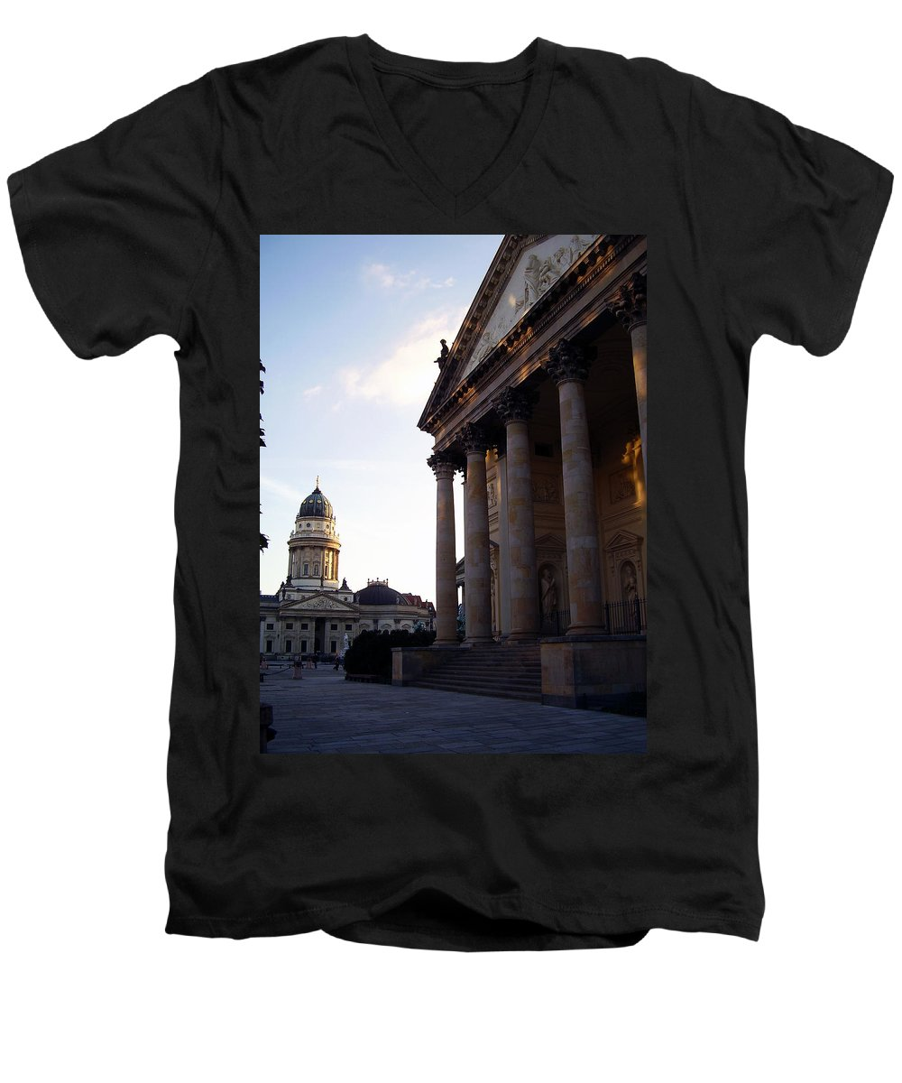 Gendarmenmarkt Men's V-Neck T-Shirt featuring the photograph Gendarmenmarkt by Flavia Westerwelle