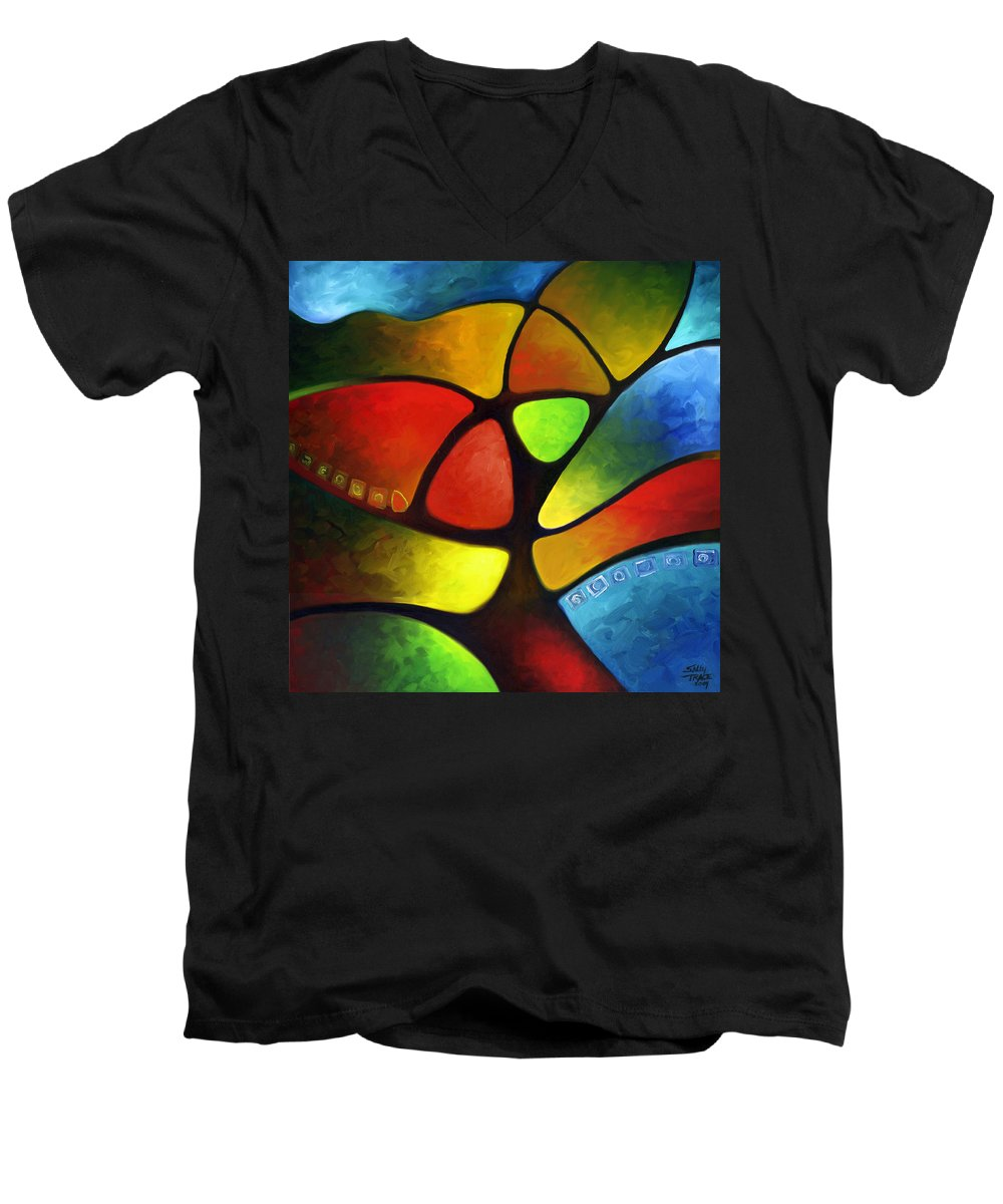 Tree Men's V-Neck T-Shirt featuring the painting Geometree by Sally Trace