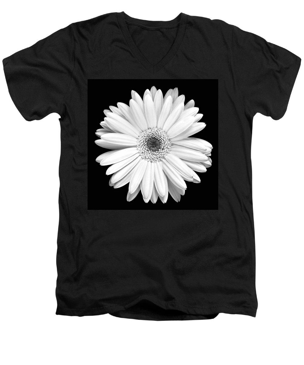 Gerber Men's V-Neck T-Shirt featuring the photograph Single Gerbera Daisy by Marilyn Hunt
