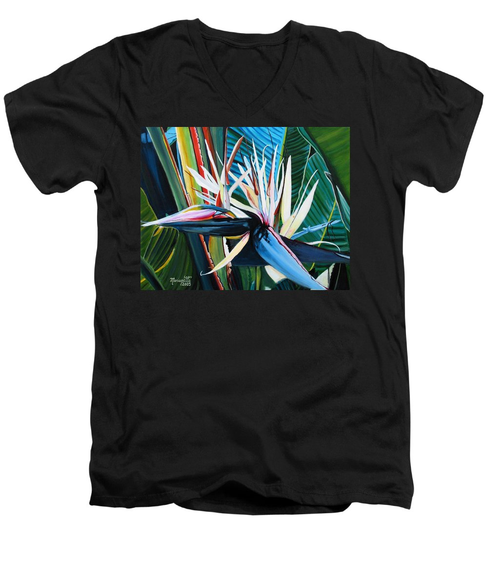 Bird Men's V-Neck T-Shirt featuring the painting Giant Bird Of Paradise by Marionette Taboniar