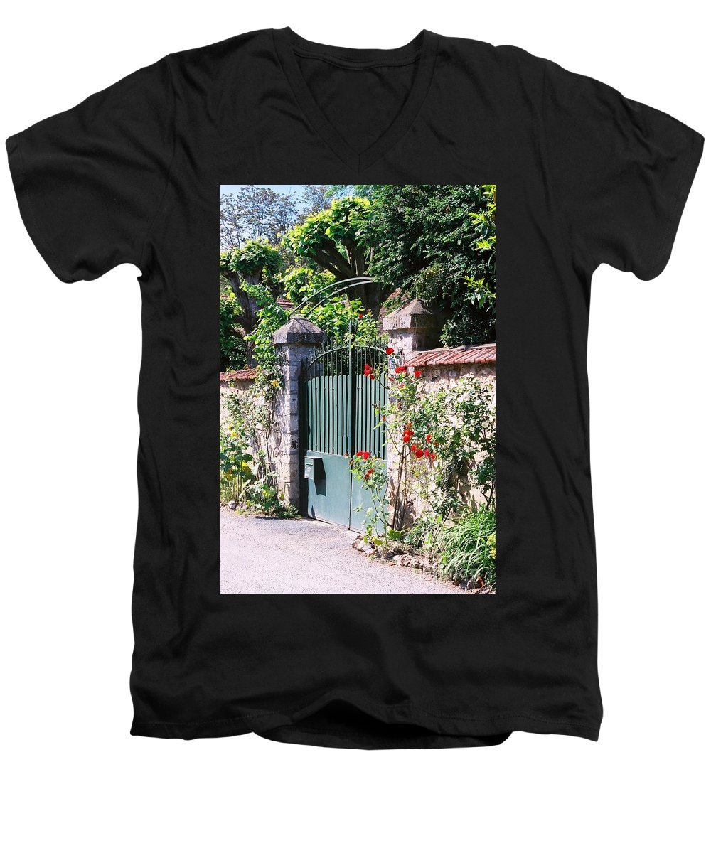 Giverny Men's V-Neck T-Shirt featuring the photograph Giverny Gate by Nadine Rippelmeyer