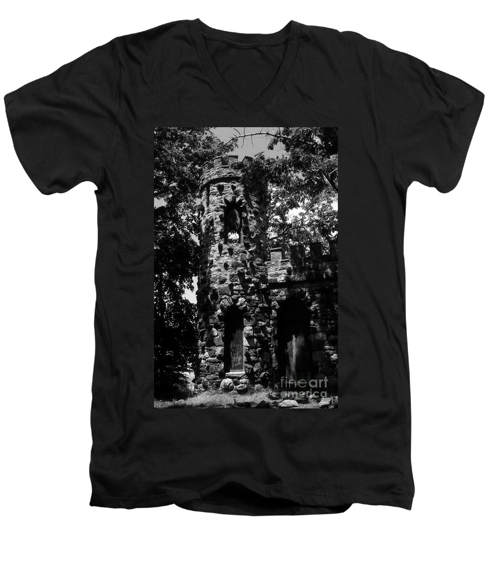Castle Men's V-Neck T-Shirt featuring the photograph Glen Island Castle by Richard Rizzo