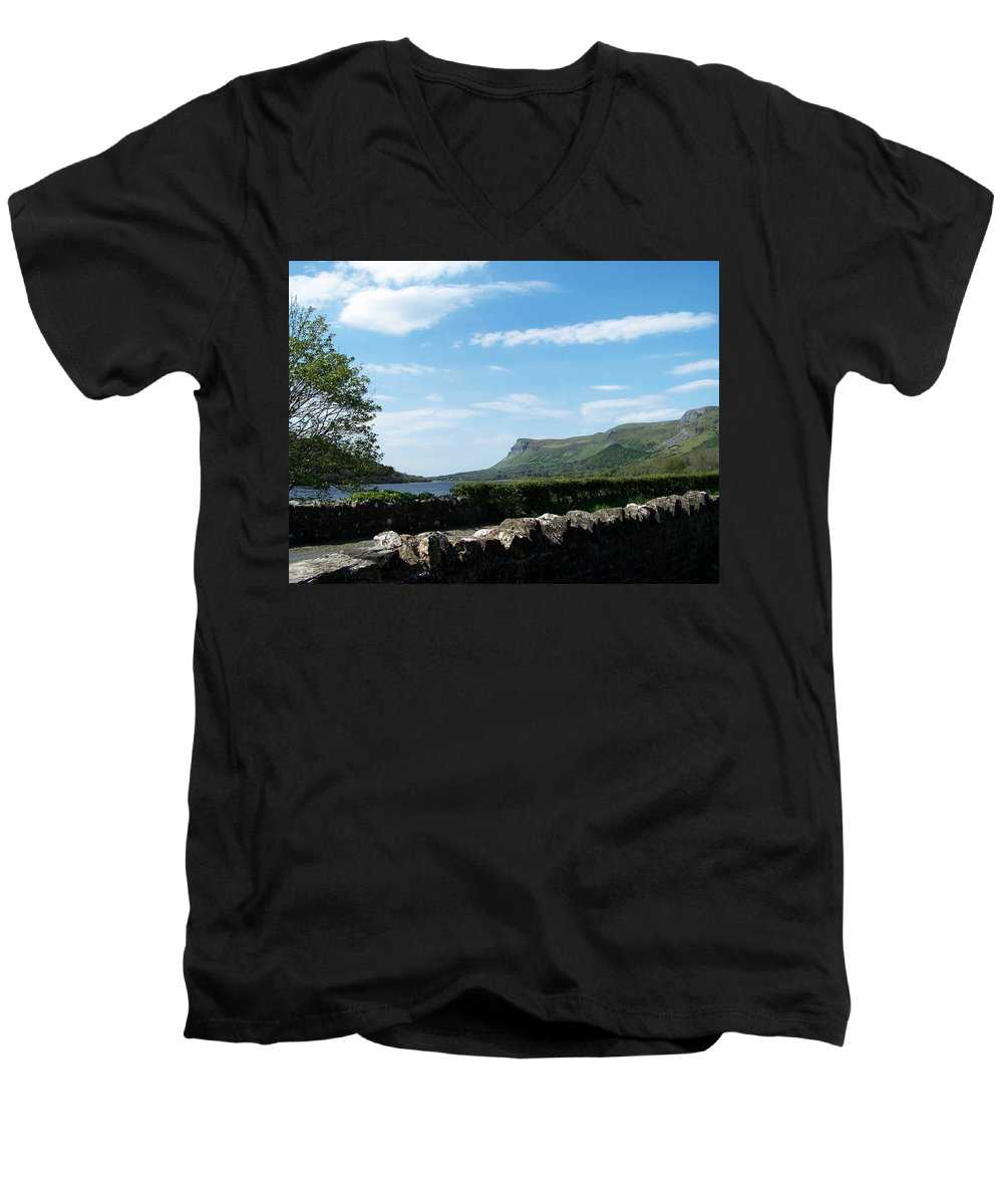 Irish Men's V-Neck T-Shirt featuring the photograph Glencar Lake With View Of Benbulben Ireland by Teresa Mucha
