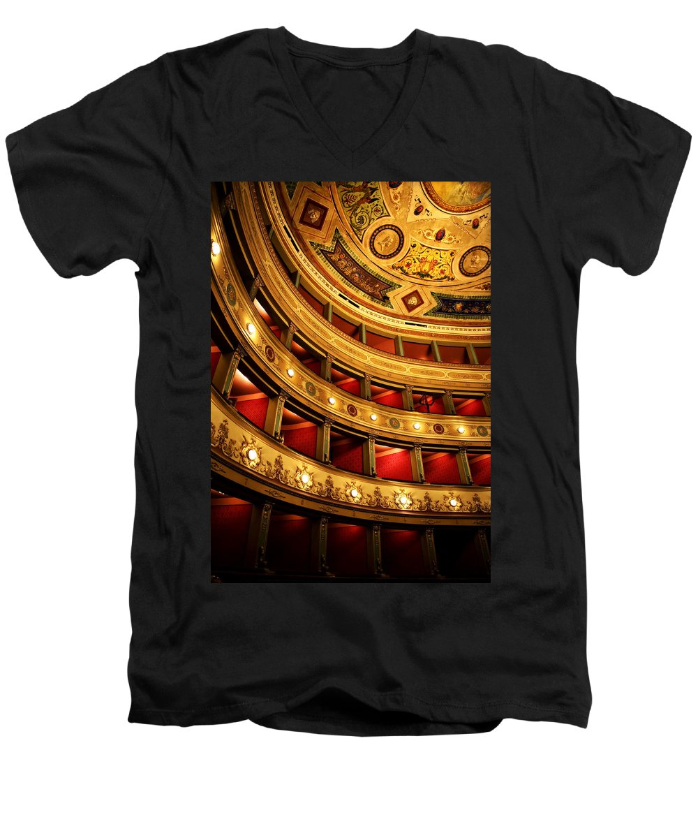 Theatre Men's V-Neck T-Shirt featuring the photograph Glorious Old Theatre by Marilyn Hunt
