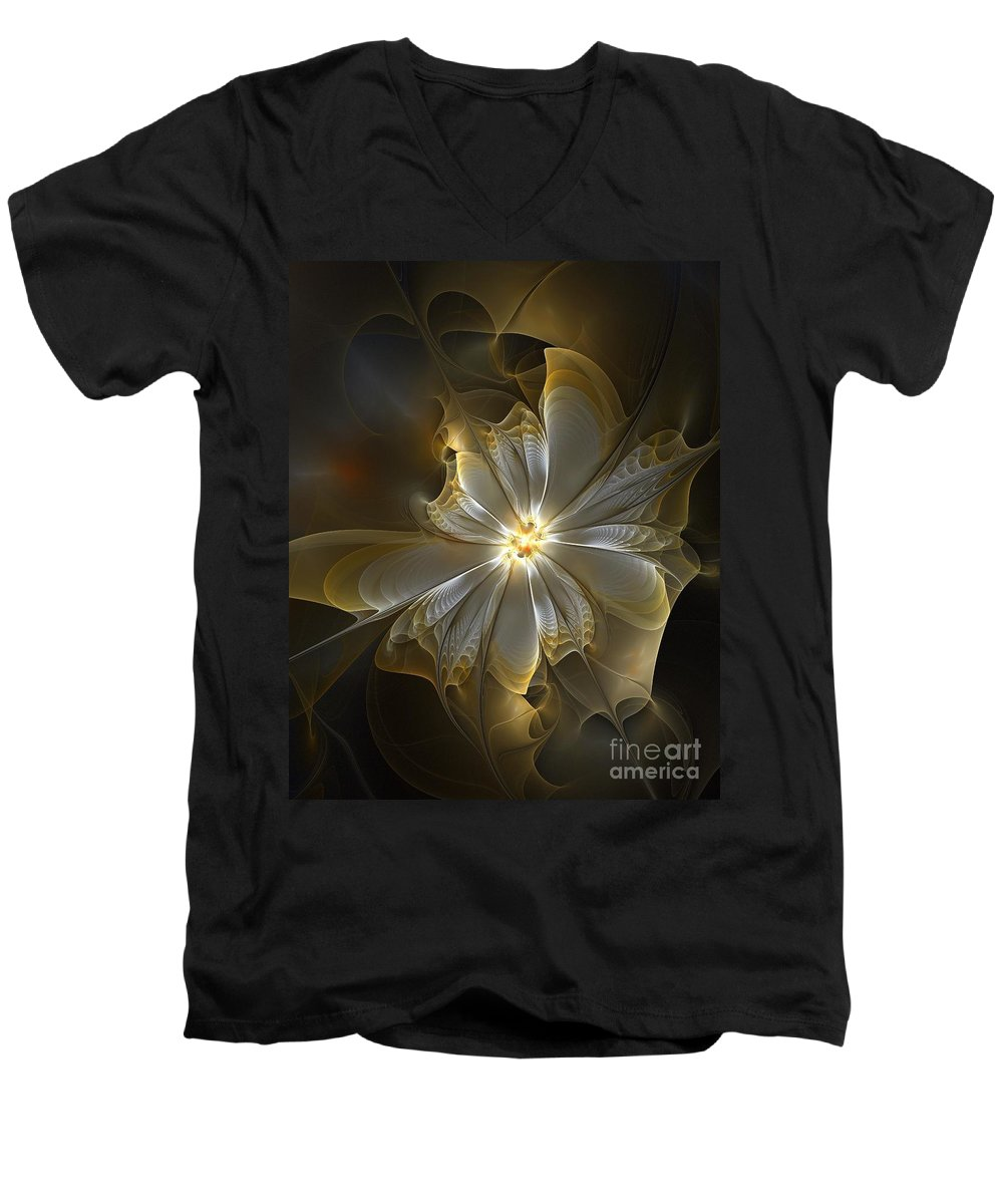 Digital Art Men's V-Neck T-Shirt featuring the digital art Glowing In Silver And Gold by Amanda Moore