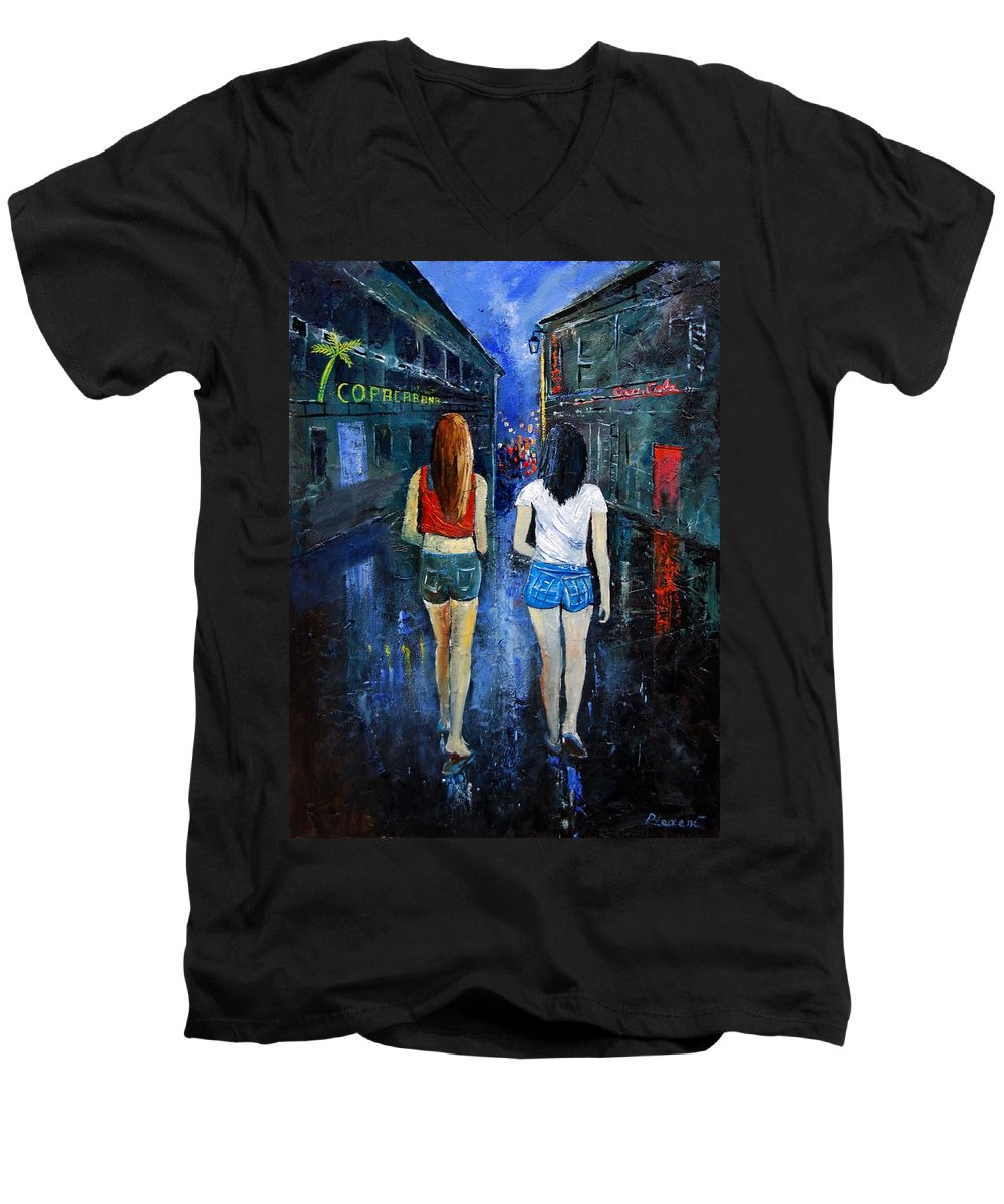Girl Men's V-Neck T-Shirt featuring the painting Going Out Tonight by Pol Ledent