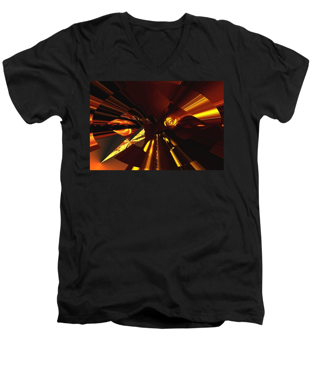Abstract Men's V-Neck T-Shirt featuring the digital art Golden Brown Abstract by David Lane