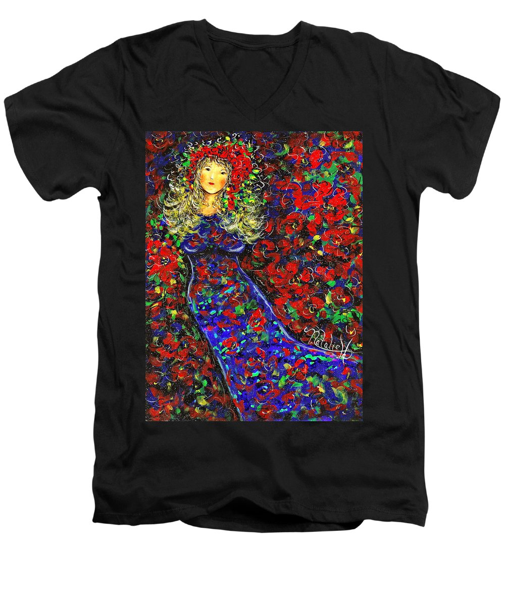 Woman Men's V-Neck T-Shirt featuring the painting Golden Girl by Natalie Holland