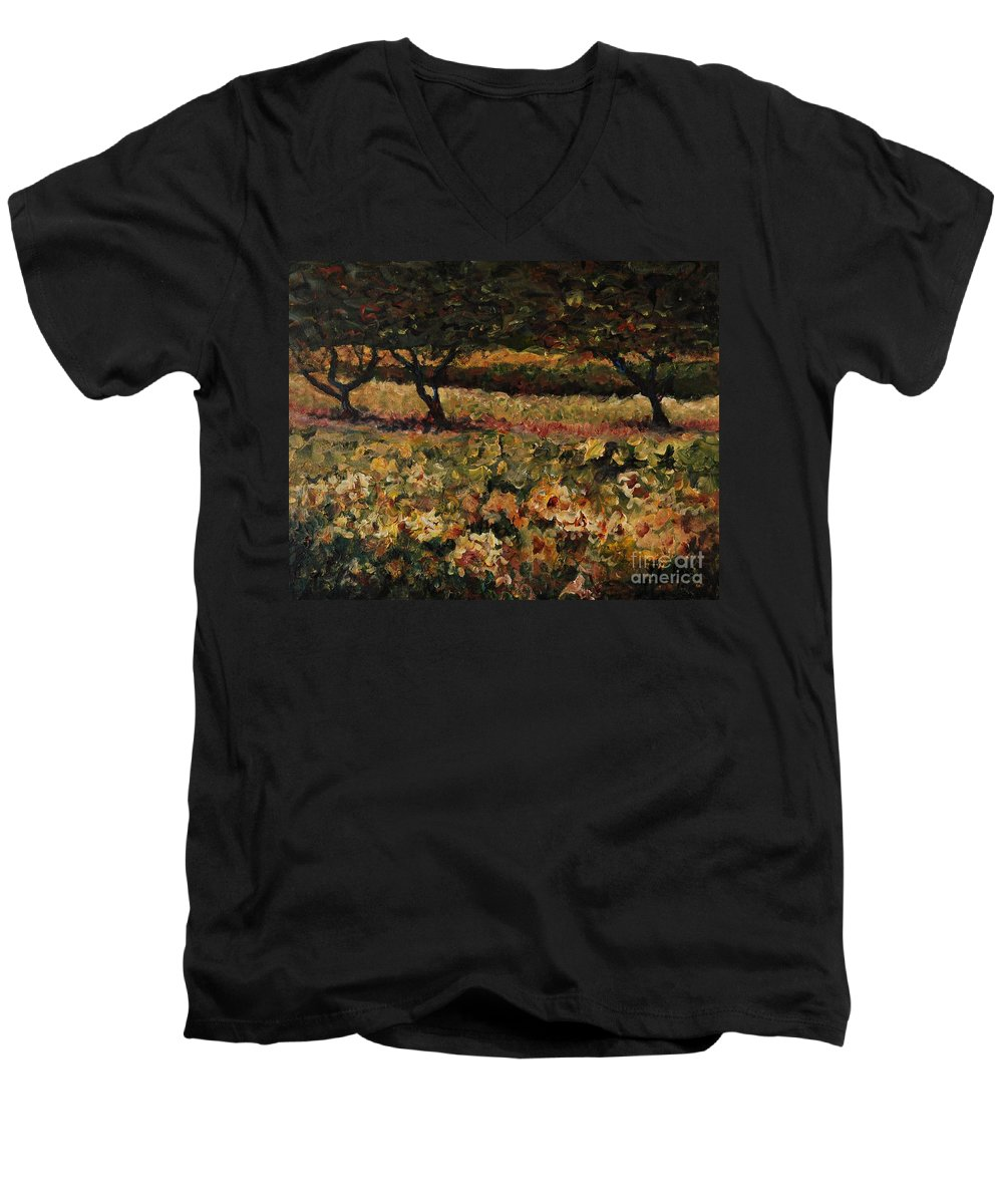 Landscape Men's V-Neck T-Shirt featuring the painting Golden Sunflowers by Nadine Rippelmeyer