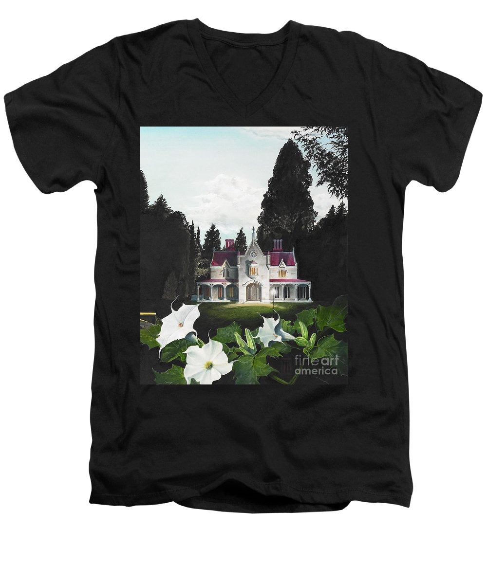 Fantasy Men's V-Neck T-Shirt featuring the painting Gothic Country House Detail From Night Bridge by Melissa A Benson