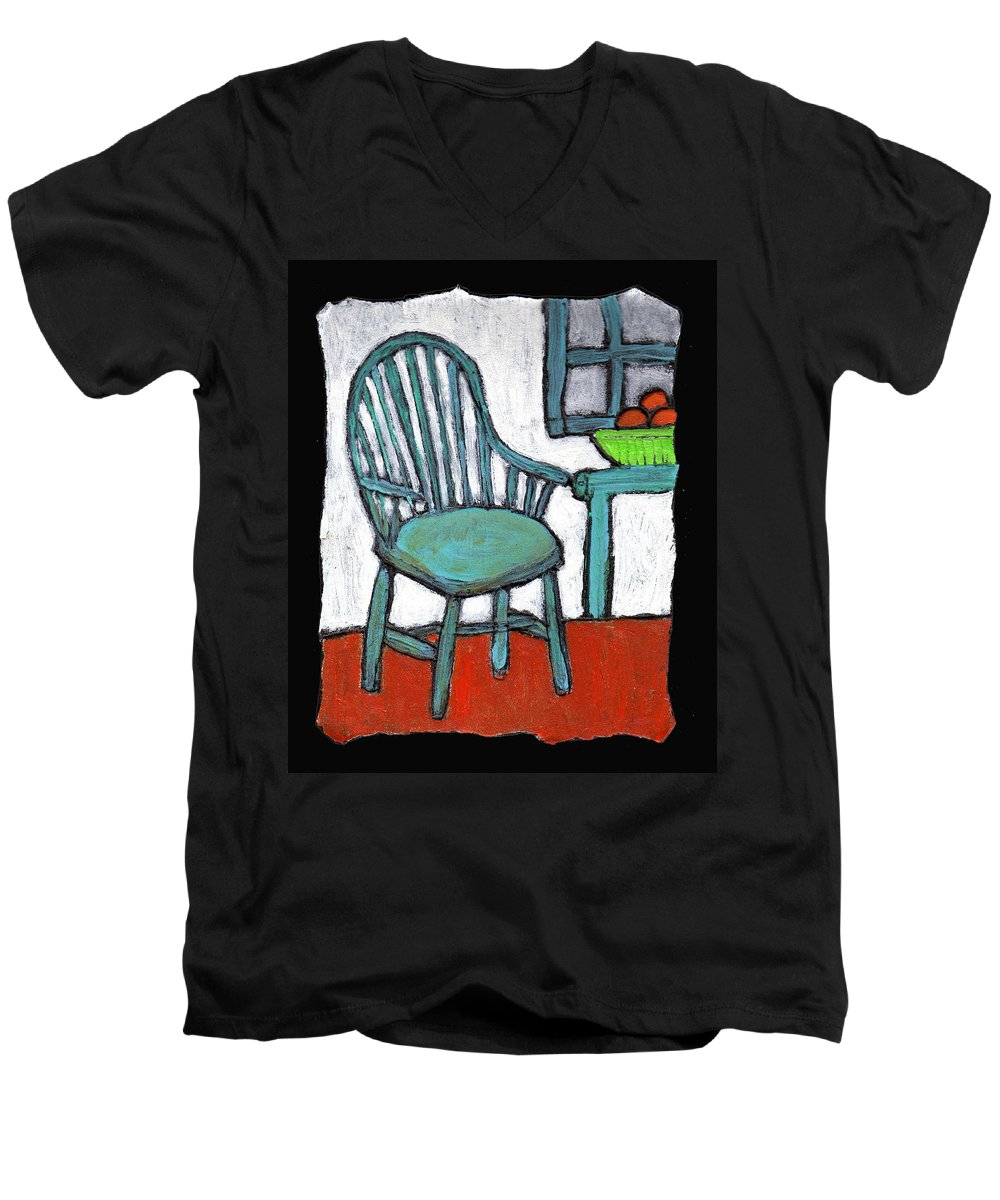 Chair Men's V-Neck T-Shirt featuring the painting Grampa's Empty Chair by Wayne Potrafka