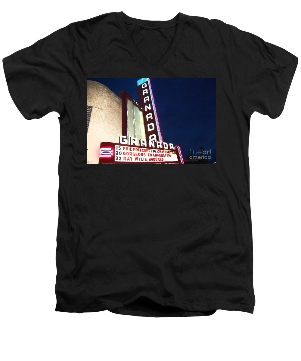 Music Men's V-Neck T-Shirt featuring the photograph Granada Theater by Debbi Granruth