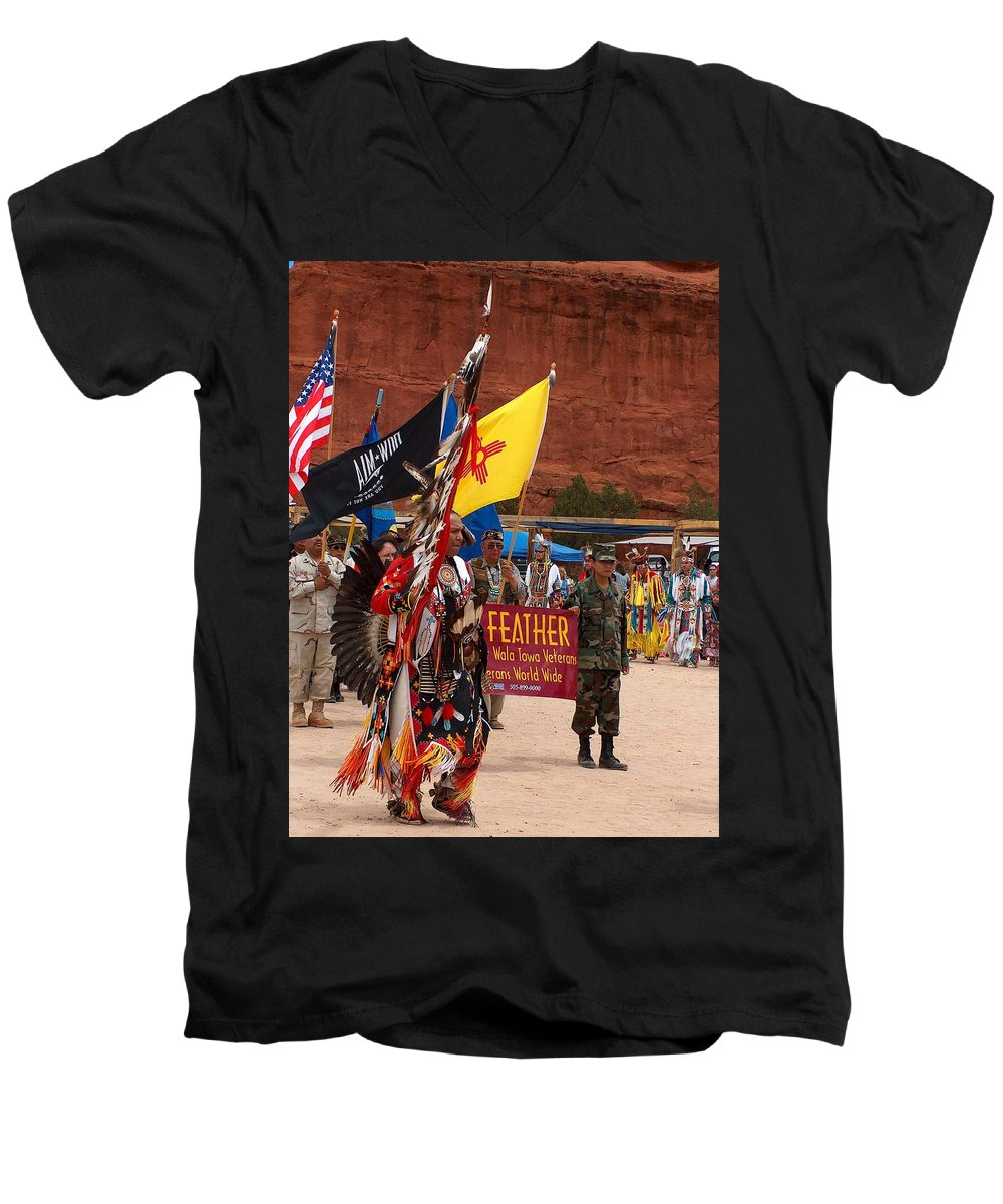 Pow-wow Men's V-Neck T-Shirt featuring the photograph Grand Entry At Star Feather Pow-wow by Tim McCarthy
