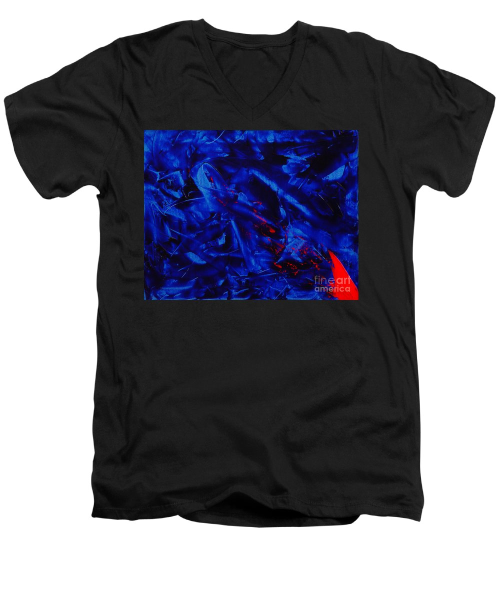 Abstract Men's V-Neck T-Shirt featuring the painting Grandma IIi by Dean Triolo