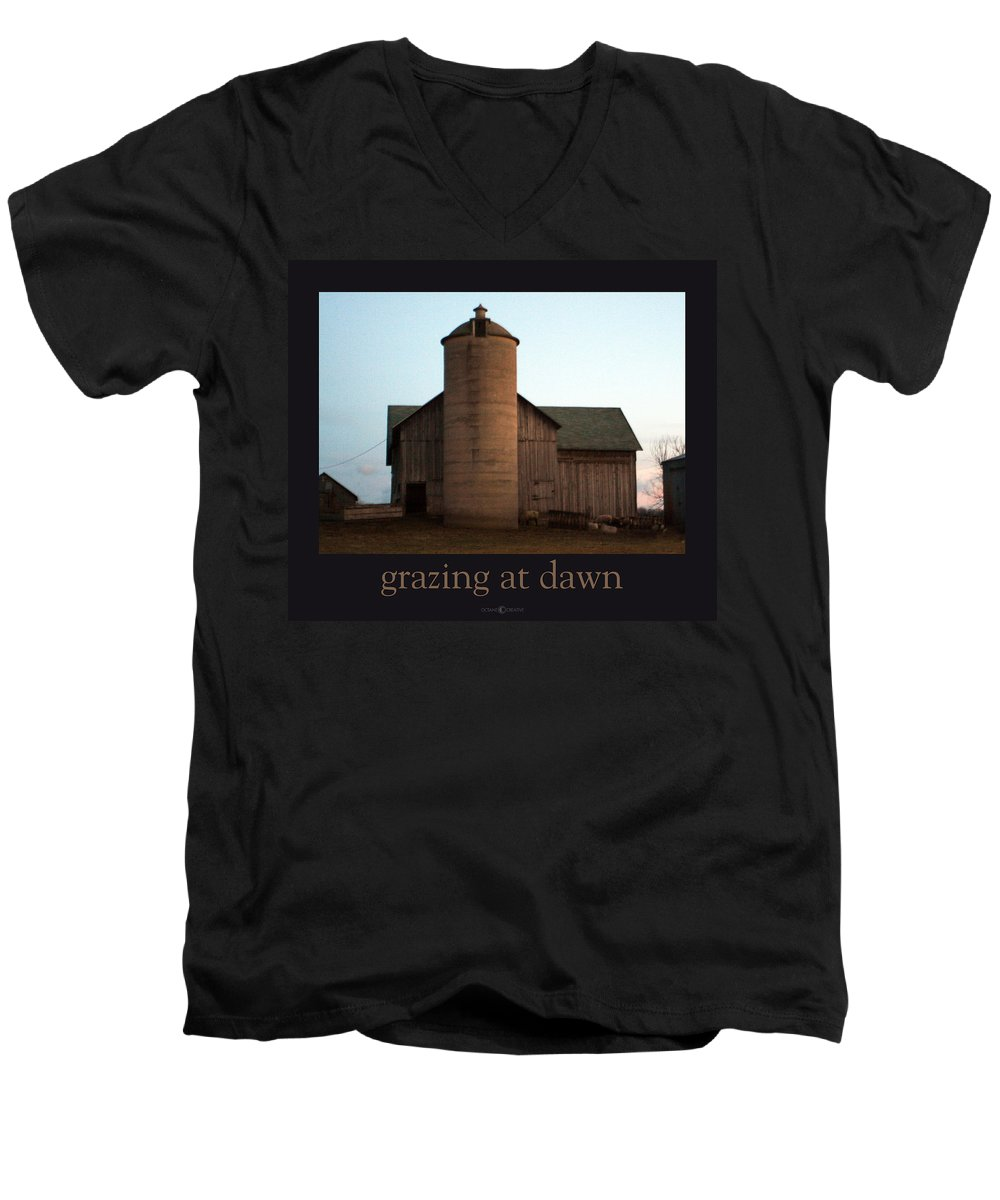 Barn Men's V-Neck T-Shirt featuring the photograph Grazing At Dawn by Tim Nyberg