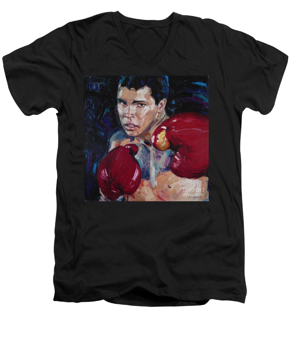 Figurative Men's V-Neck T-Shirt featuring the painting Great Ali by Sergey Ignatenko
