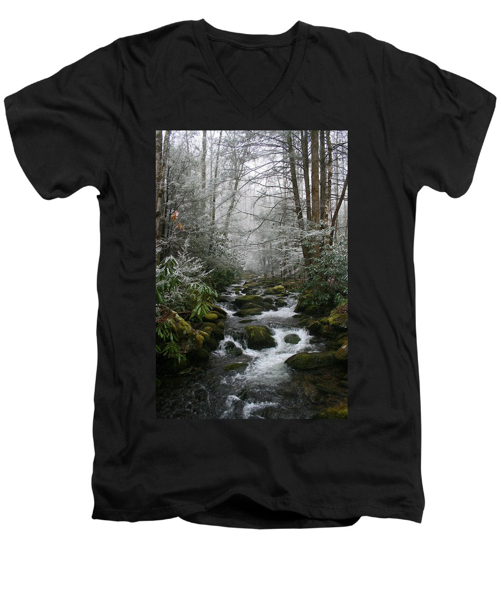 Green Snow Tree Trees Winter Stream River Creek Water Stone Rock Flow Boulder Forest Woods Cold Men's V-Neck T-Shirt featuring the photograph Green And White by Andrei Shliakhau