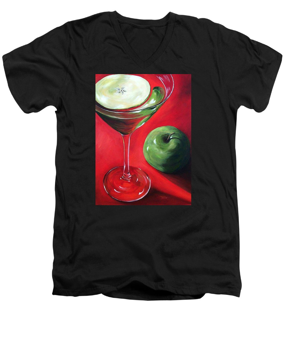 Martini Men's V-Neck T-Shirt featuring the painting Green Apple Martini by Torrie Smiley