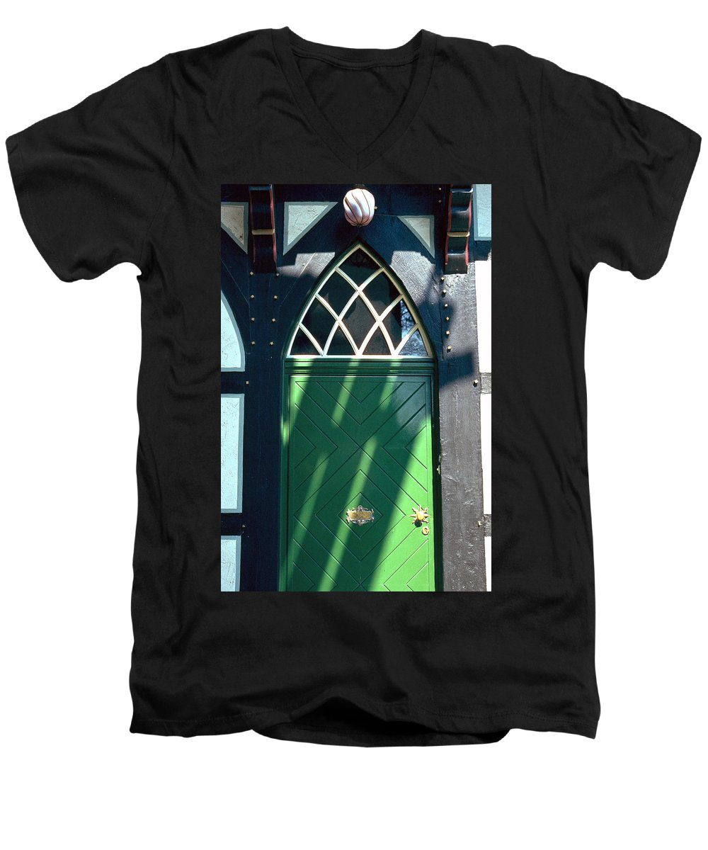 Green Men's V-Neck T-Shirt featuring the photograph Green Door by Flavia Westerwelle
