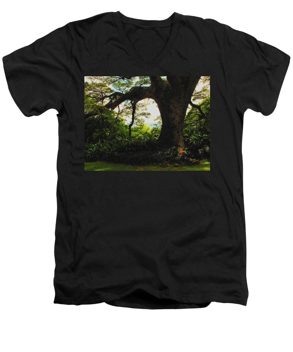 Tropical Men's V-Neck T-Shirt featuring the photograph Green Giant by Ian MacDonald