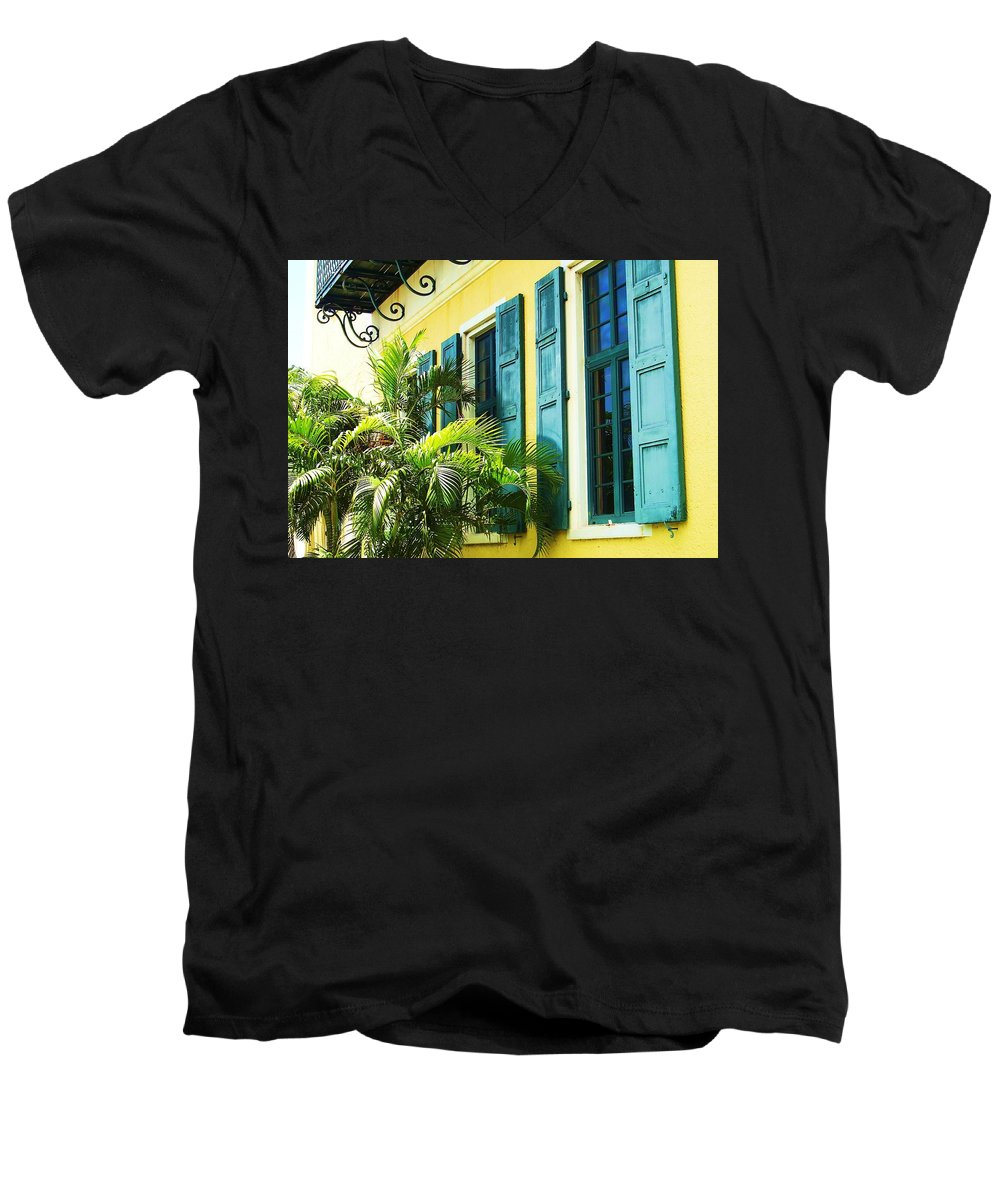 Architecture Men's V-Neck T-Shirt featuring the photograph Green Shutters by Debbi Granruth