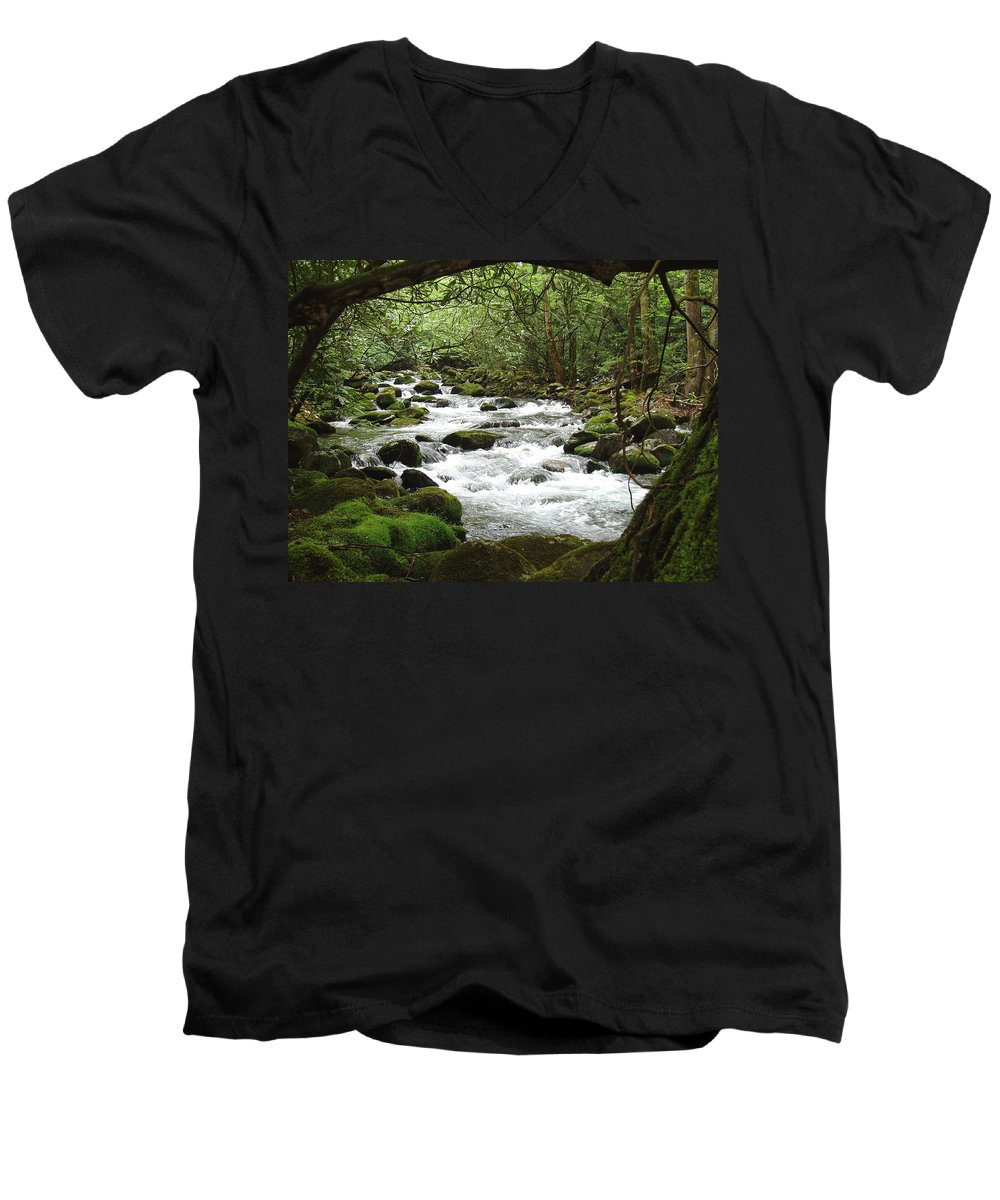 Smoky Mountains Men's V-Neck T-Shirt featuring the photograph Greenbrier River Scene 2 by Nancy Mueller