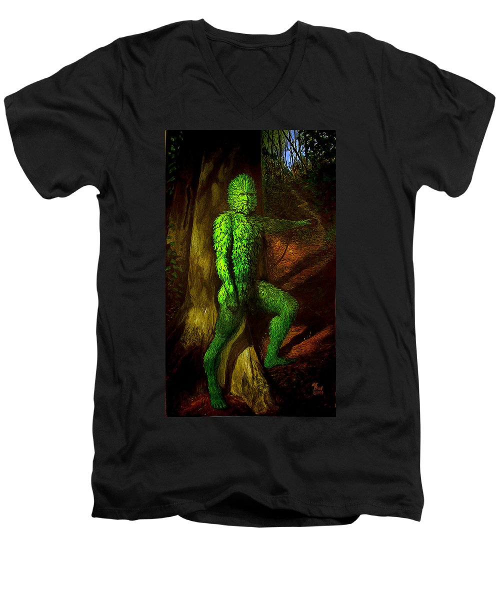 Myth Men's V-Neck T-Shirt featuring the mixed media Greenman by Will Brown
