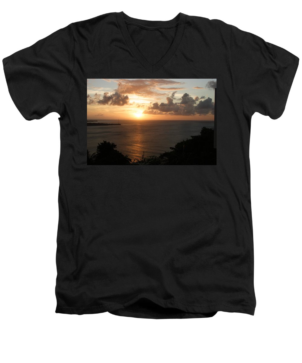 Grenada Men's V-Neck T-Shirt featuring the photograph Grenadian Sunset I by Jean Macaluso