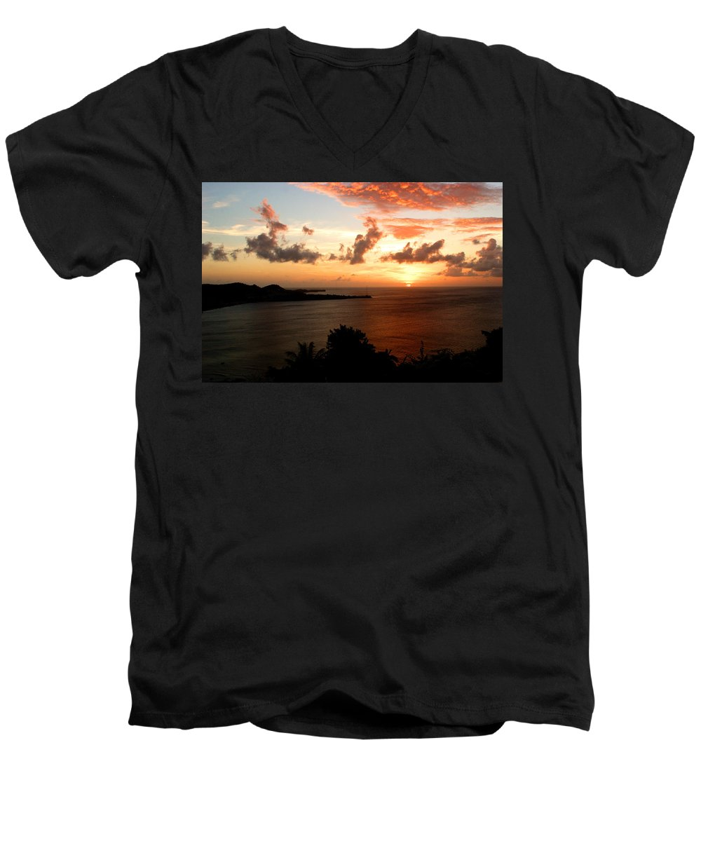 Sunset Men's V-Neck T-Shirt featuring the photograph Grenadian Sunset II by Jean Macaluso