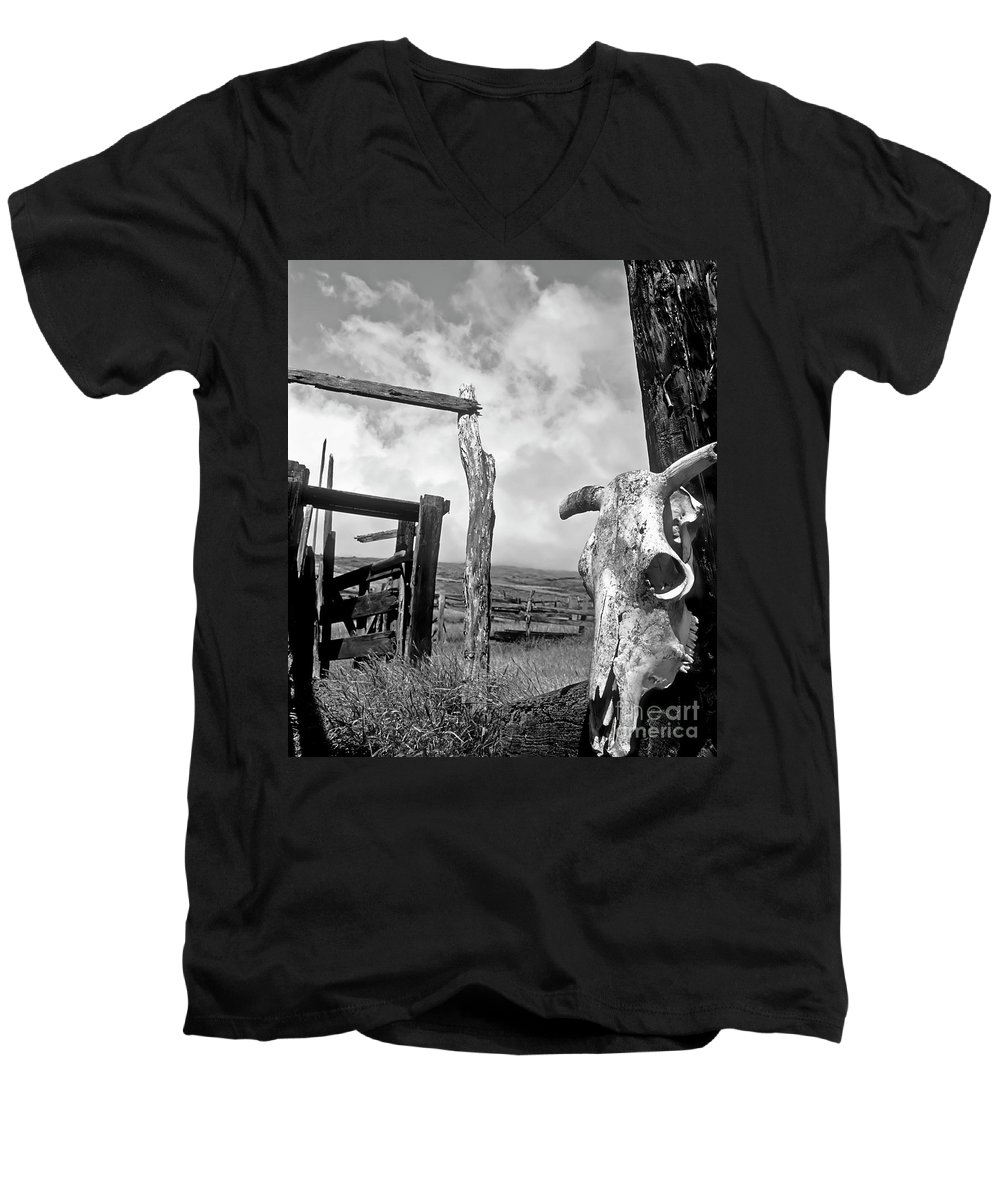 Black And White Men's V-Neck T-Shirt featuring the photograph Guardian Spirit by Jim Cazel