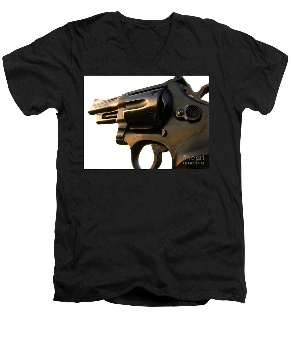 Gun Men's V-Neck T-Shirt featuring the photograph Gun Series by Amanda Barcon