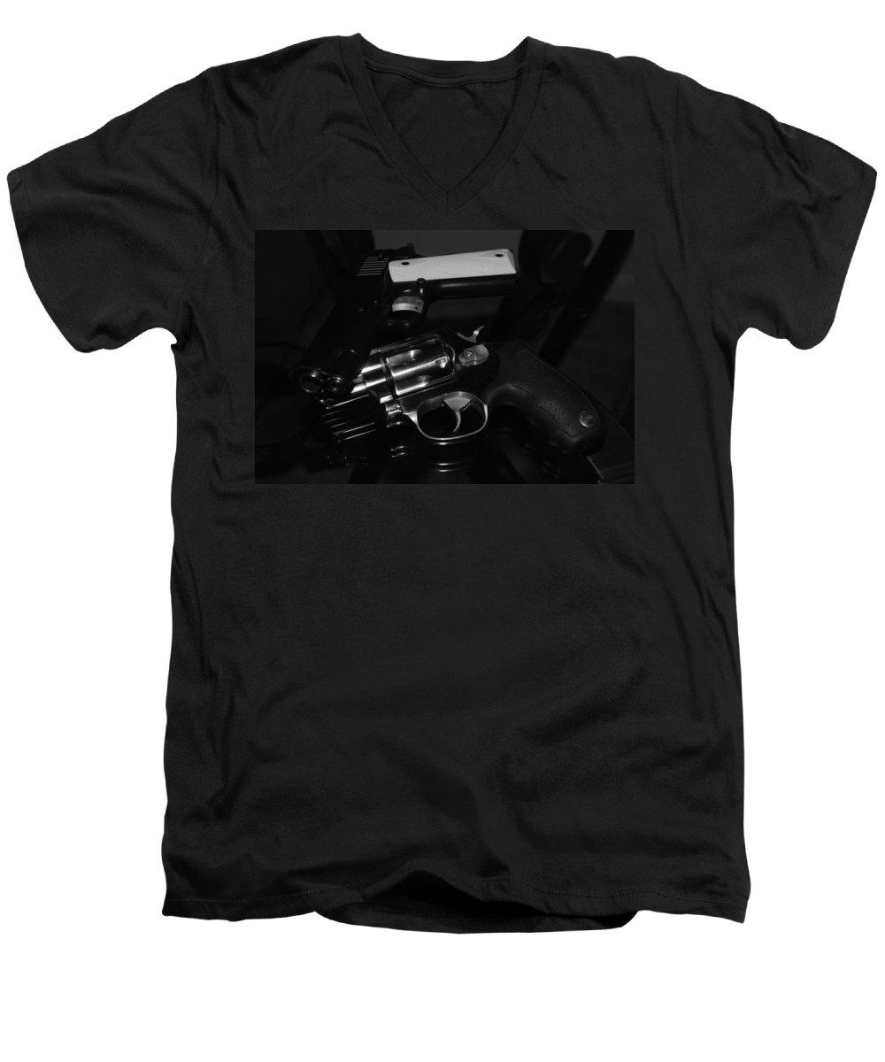 Guns Men's V-Neck T-Shirt featuring the photograph Guns And More Guns by Rob Hans