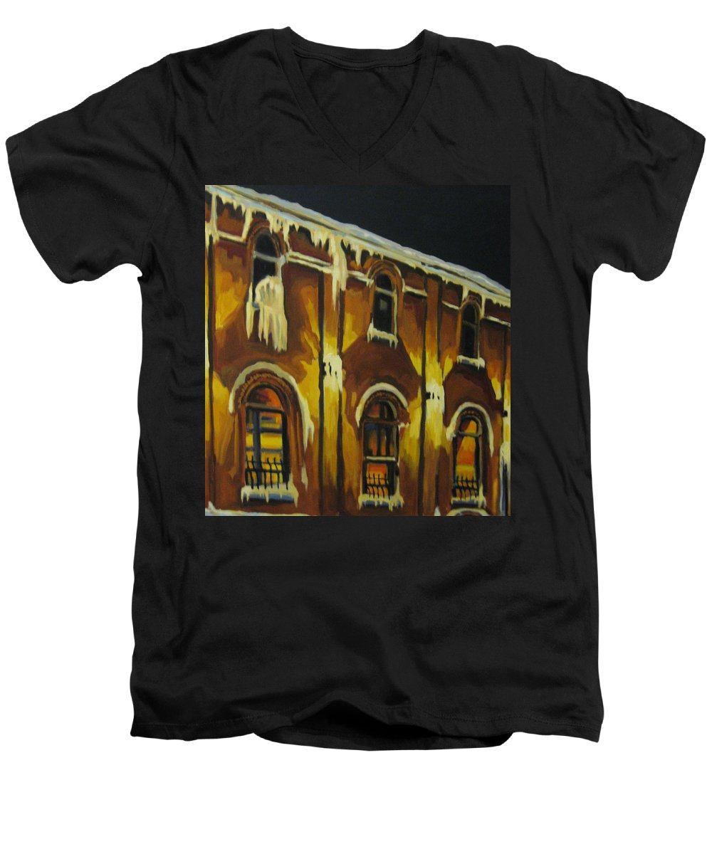 Urban Landscapes Men's V-Neck T-Shirt featuring the painting Halifax Ale House In Ice by John Malone