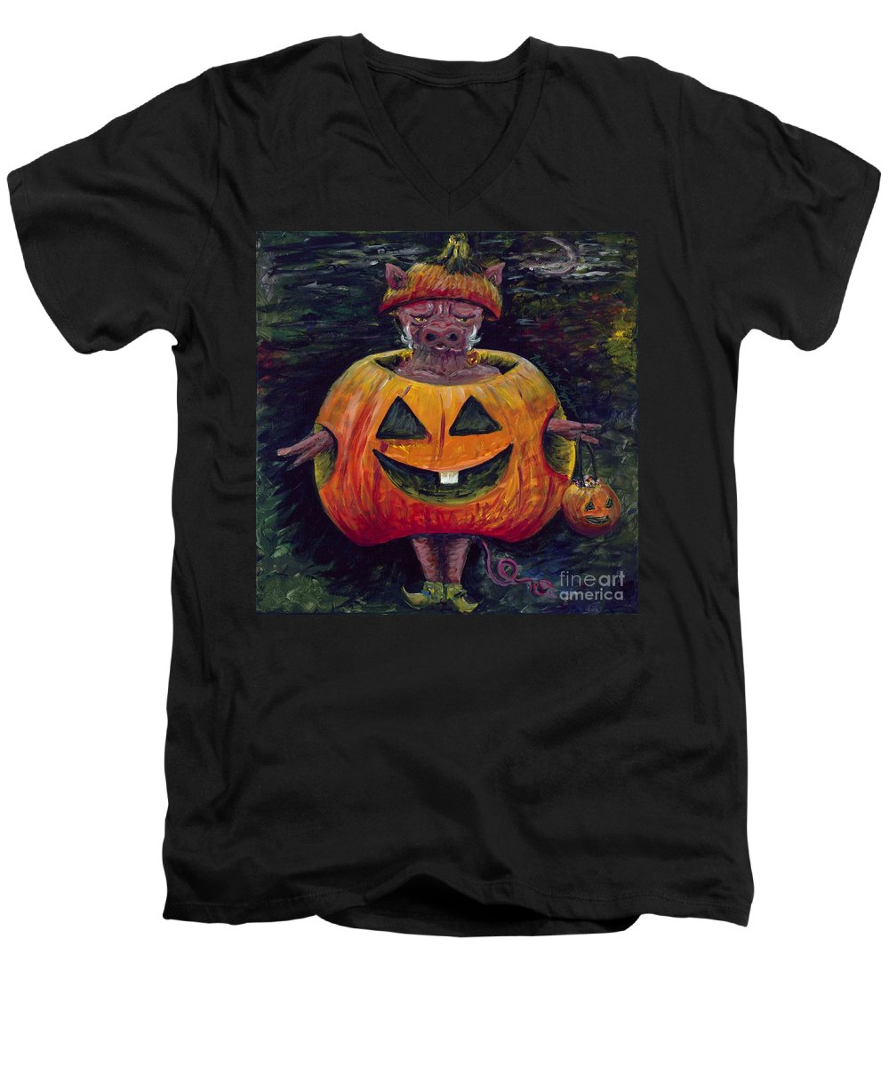 Halloween Men's V-Neck T-Shirt featuring the painting Halloween Hog by Nadine Rippelmeyer
