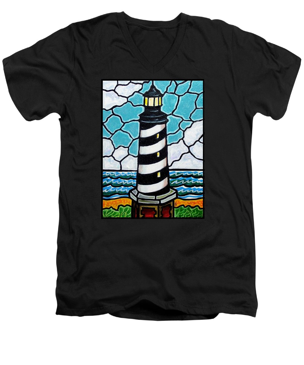 Lighthouse Men's V-Neck T-Shirt featuring the painting Hatteras Island Lighthouse by Jim Harris