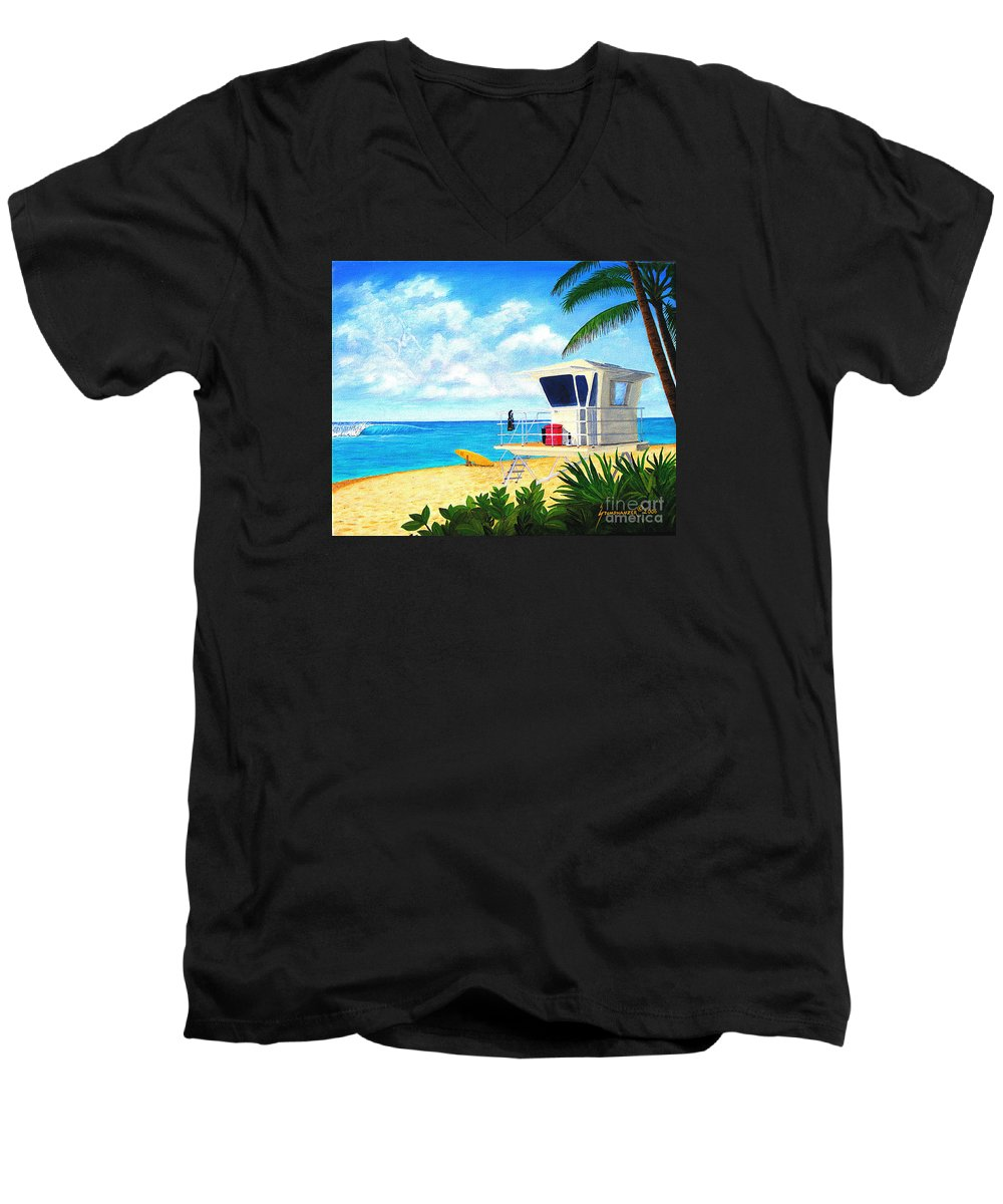 Hawaii Men's V-Neck T-Shirt featuring the painting Hawaii North Shore Banzai Pipeline by Jerome Stumphauzer
