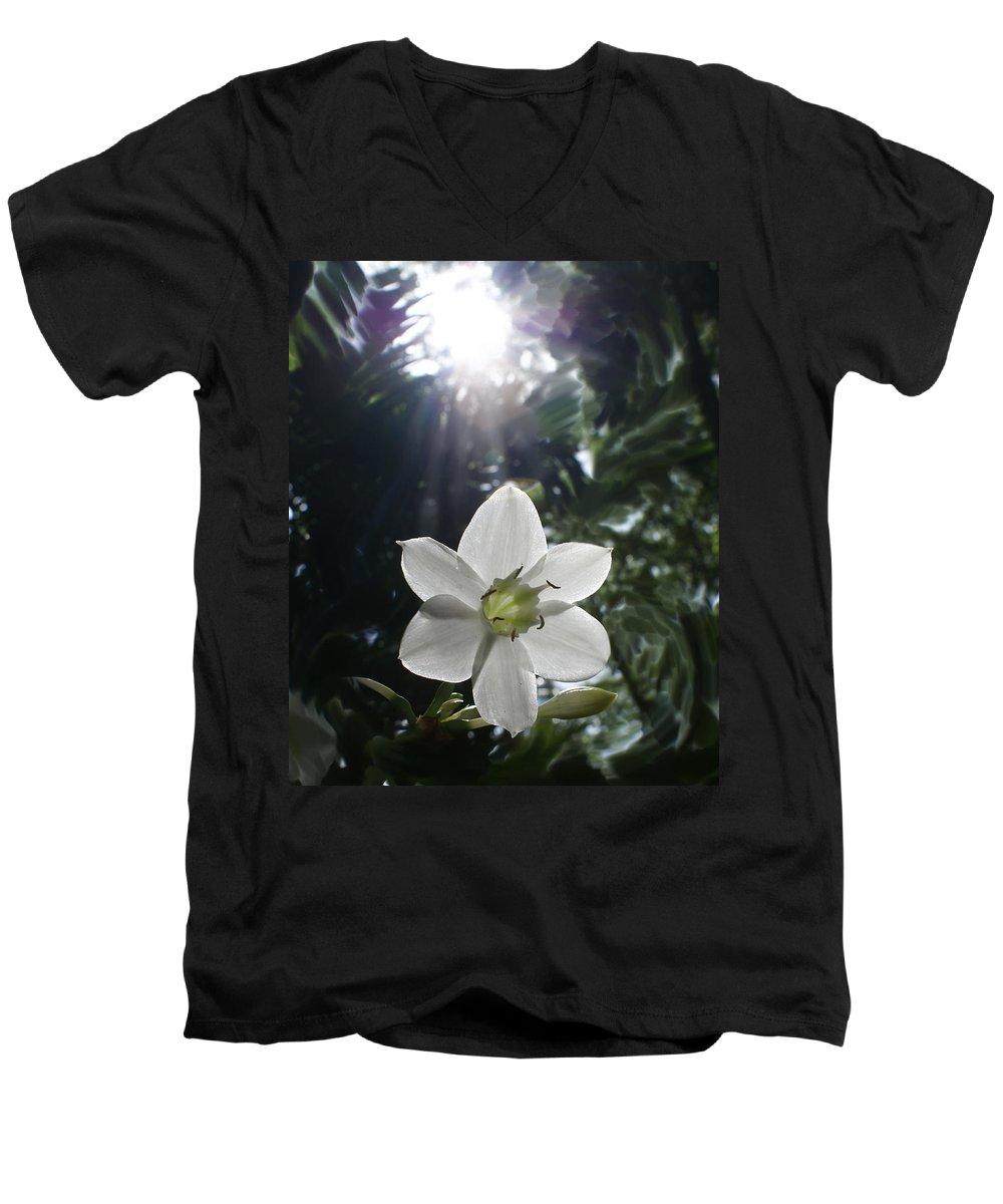 Hawaiian Men's V-Neck T-Shirt featuring the photograph Hawaiian Flower by Heather Coen