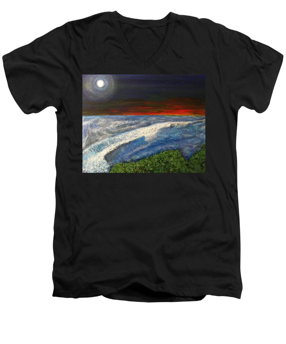 Beaches Men's V-Neck T-Shirt featuring the painting Hawiian View by Michael Cuozzo