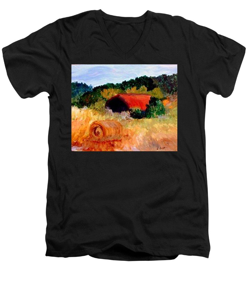 Hayrolls Men's V-Neck T-Shirt featuring the painting Hayrolls by Gail Kirtz