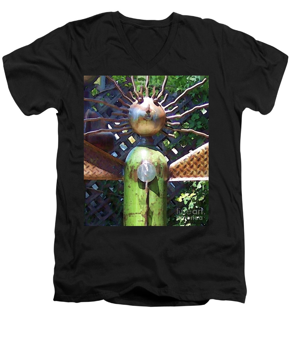 Sculpture Men's V-Neck T-Shirt featuring the photograph Head For Detail by Debbi Granruth