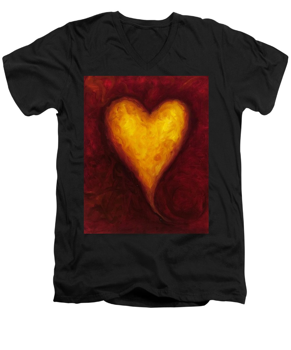 Heart Men's V-Neck T-Shirt featuring the painting Heart Of Gold 1 by Shannon Grissom