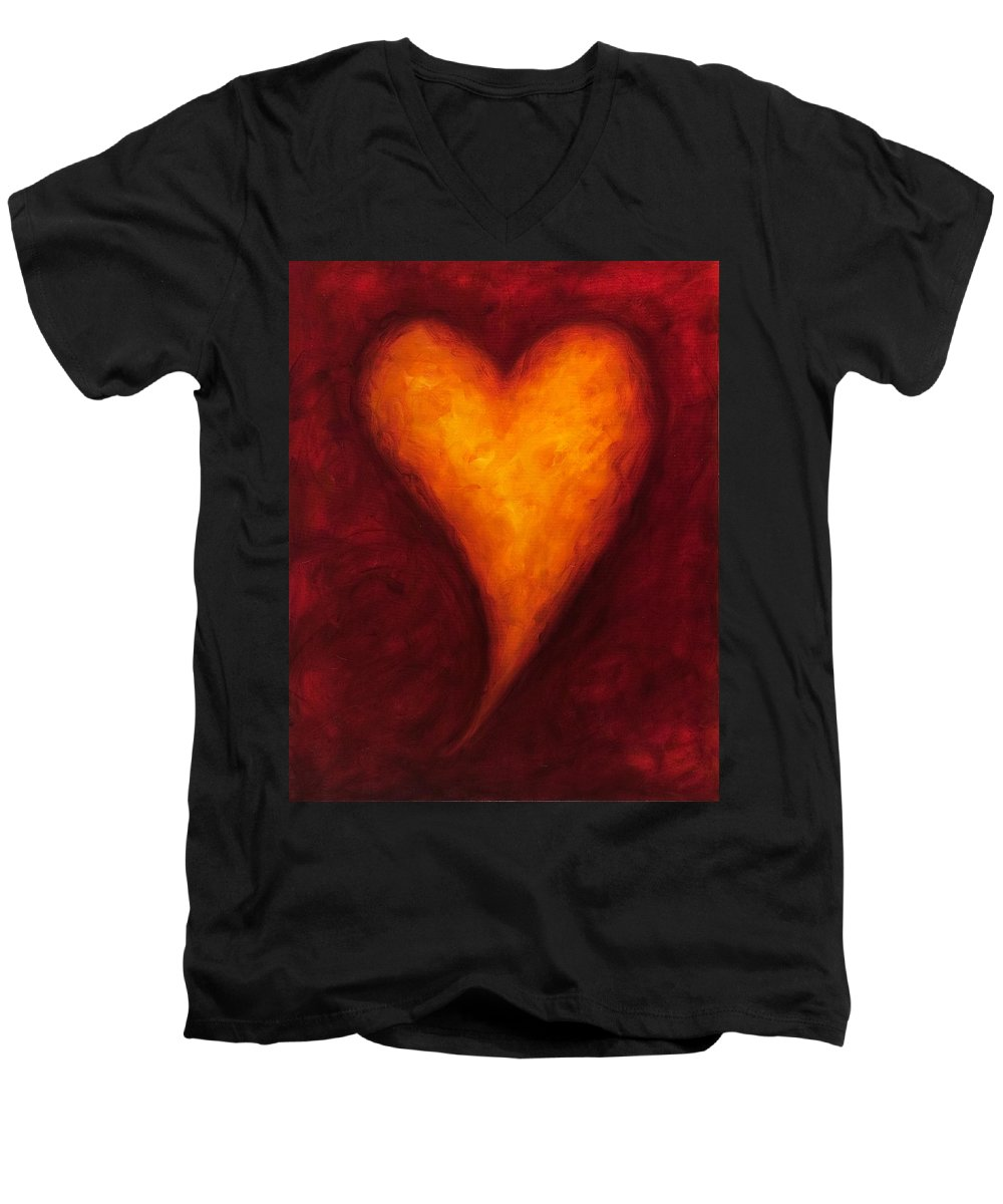 Heart Men's V-Neck T-Shirt featuring the painting Heart Of Gold 2 by Shannon Grissom
