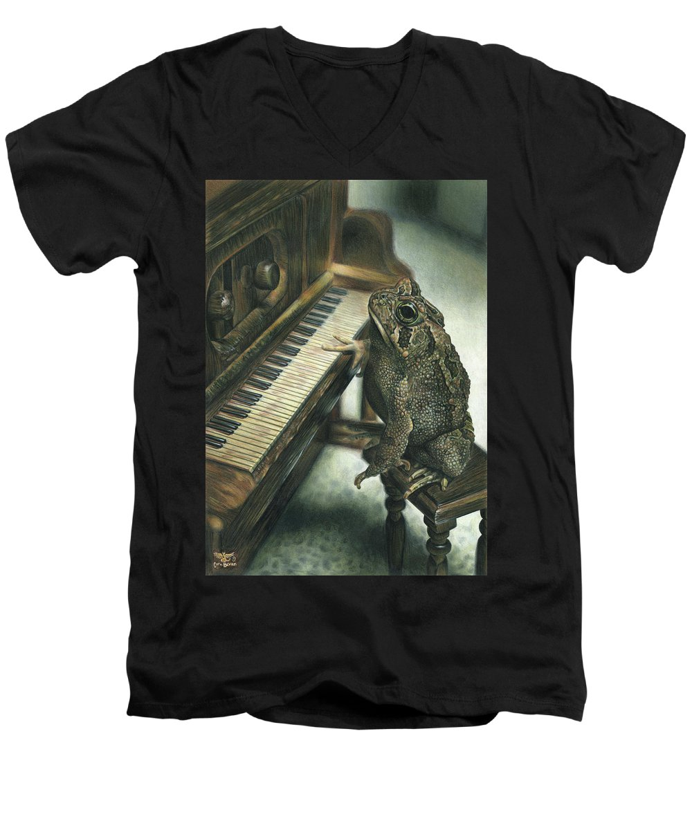 Heart Men's V-Neck T-Shirt featuring the drawing Heart Of The Symphony by Cara Bevan