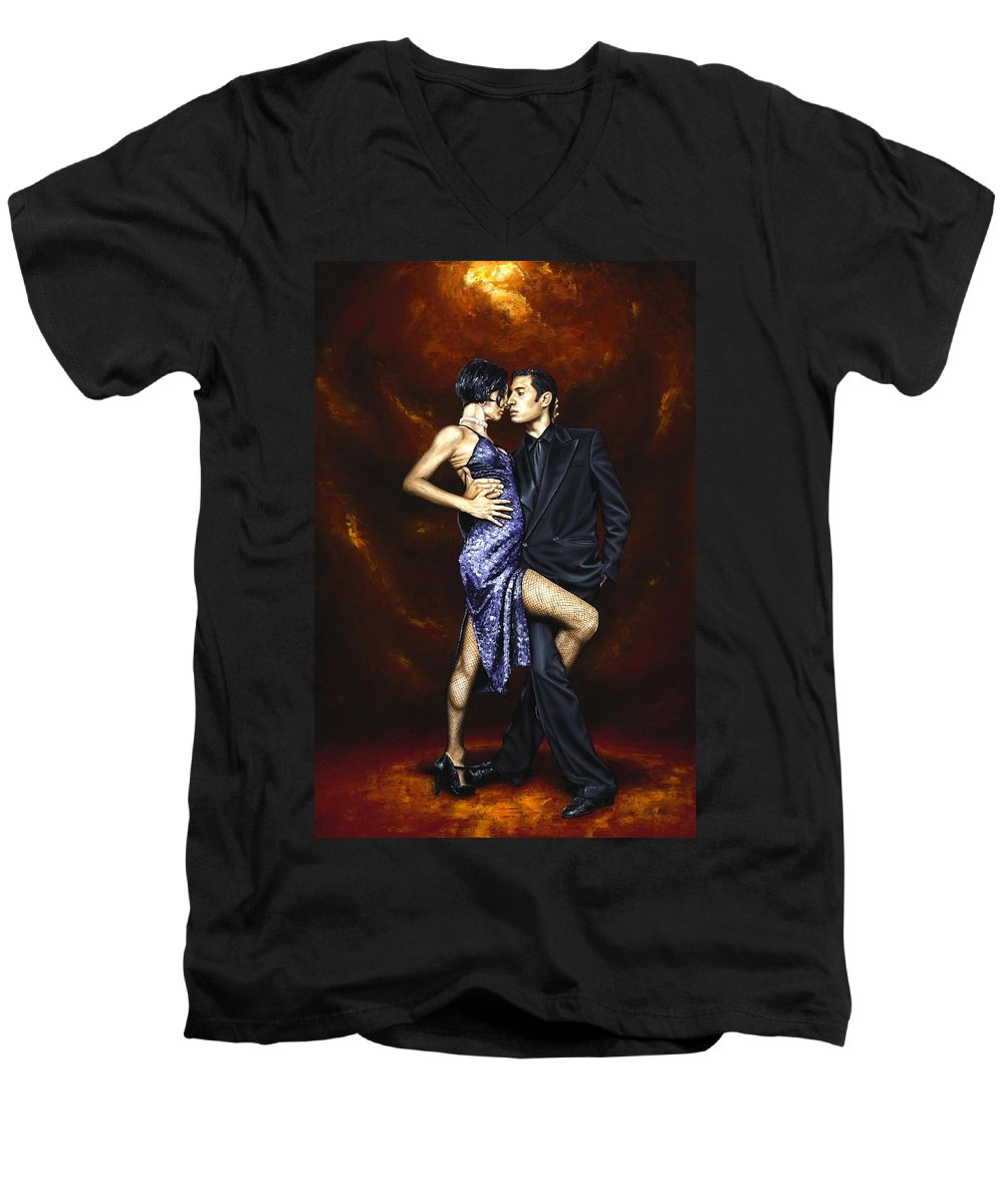 Tango Dancers Love Passion Female Male Woman Man Dance Men's V-Neck T-Shirt featuring the painting Held In Tango by Richard Young