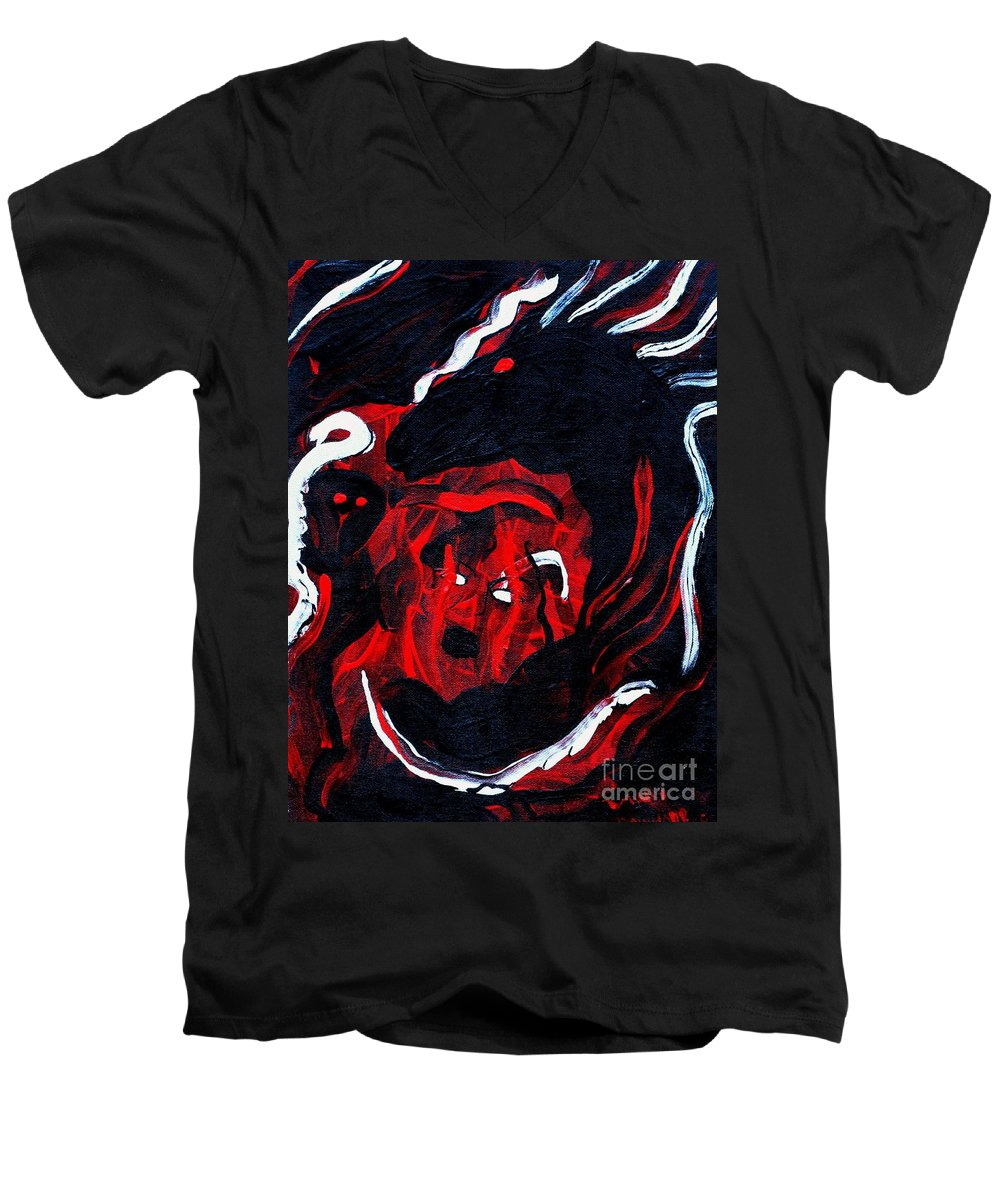 Horse Woman Red Black Silver Men's V-Neck T-Shirt featuring the painting Hell Beast by Dawn Downour