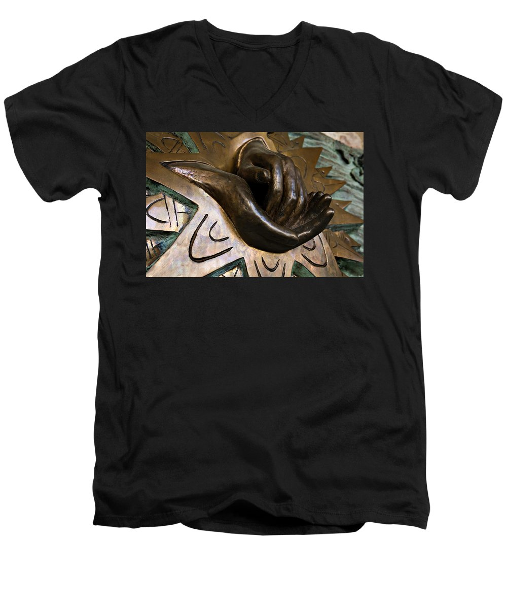 Italy Men's V-Neck T-Shirt featuring the photograph Helping Hands by Marilyn Hunt